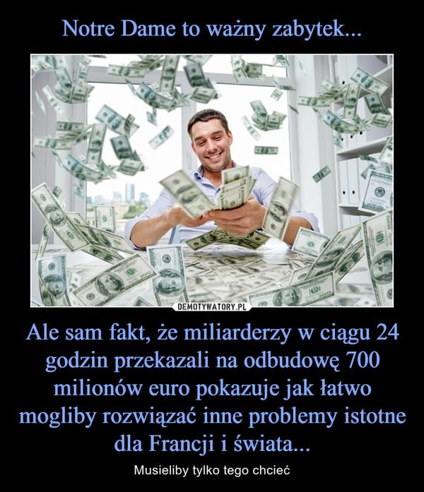 Ale sam fakt, że miliarderzy w ciągu 24 godzin przekazali na odbudowę 700 milionów euro pokazuje jak łatwo mogliby rozwiązać inne problemy istotne dla Francji i świata... – Musieliby tylko tego chcieć