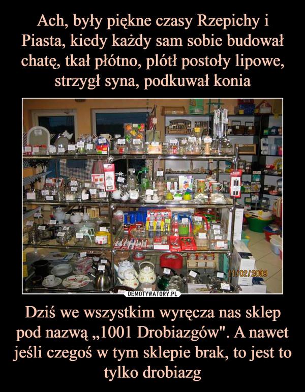 """Dziś we wszystkim wyręcza nas sklep pod nazwą """"1001 Drobiazgów"""". A nawet jeśli czegoś w tym sklepie brak, to jest to tylko drobiazg –"""