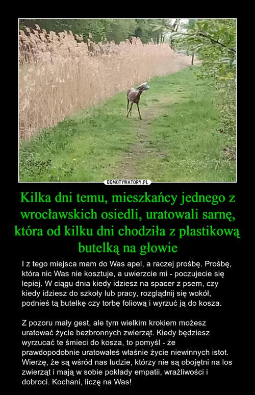 Kilka dni temu, mieszkańcy jednego z wrocławskich osiedli, uratowali sarnę, która od kilku dni chodziła z plastikową butelką na głowie