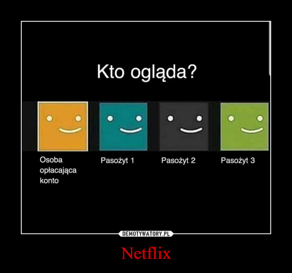 Netflix –  Osoba opłacająca konto Kto ogląda? Pasożyt 1 Pasożyt 2 Pasożyt 3