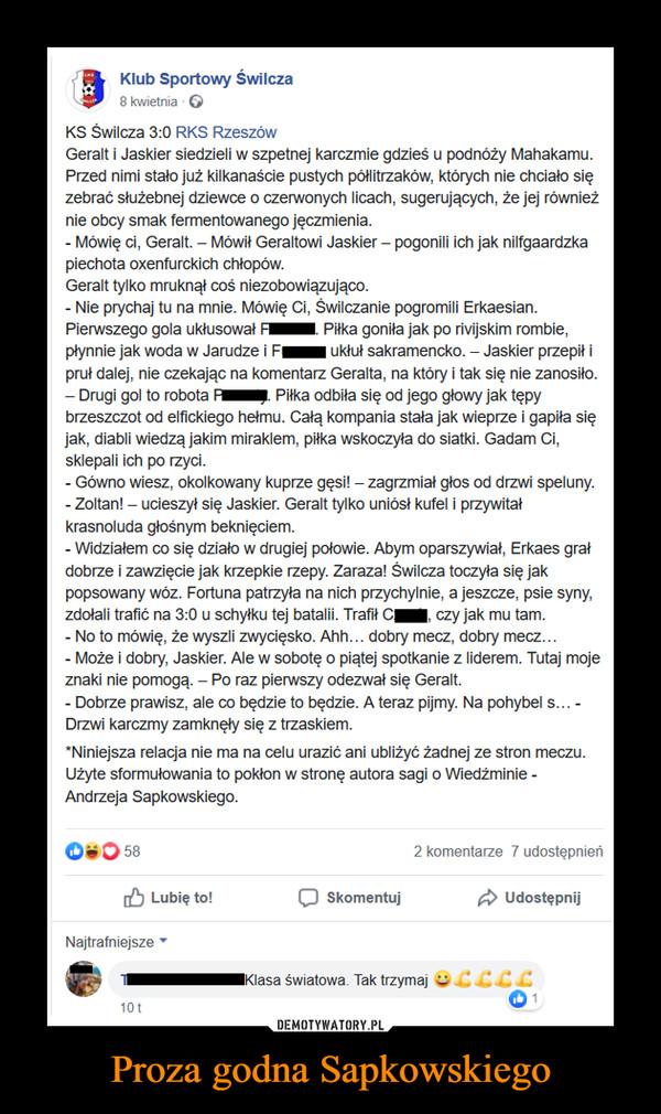Proza godna Sapkowskiego –