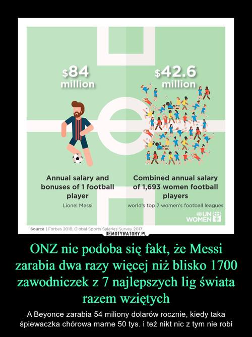 ONZ nie podoba się fakt, że Messi zarabia dwa razy więcej niż blisko 1700 zawodniczek z 7 najlepszych lig świata razem wziętych