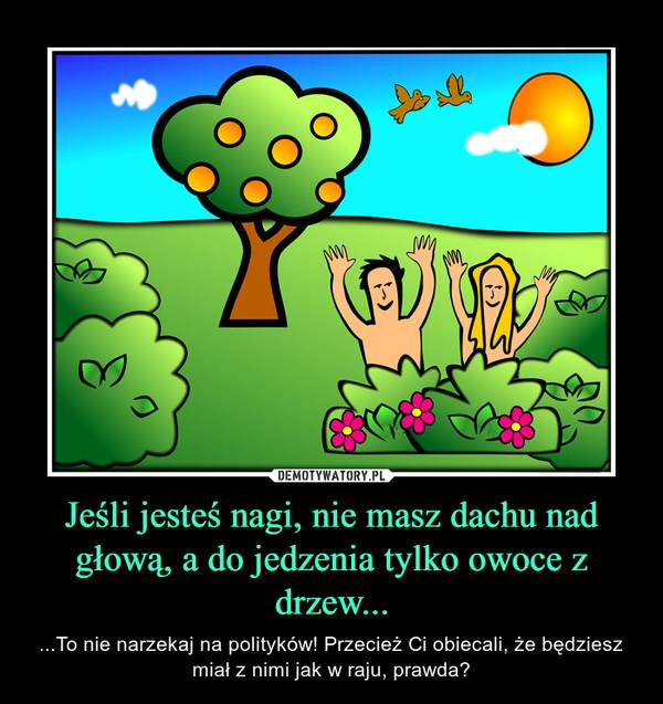 Jeśli jesteś nagi, nie masz dachu nad głową, a do jedzenia tylko owoce z drzew... – ...To nie narzekaj na polityków! Przecież Ci obiecali, że będziesz miał z nimi jak w raju, prawda?