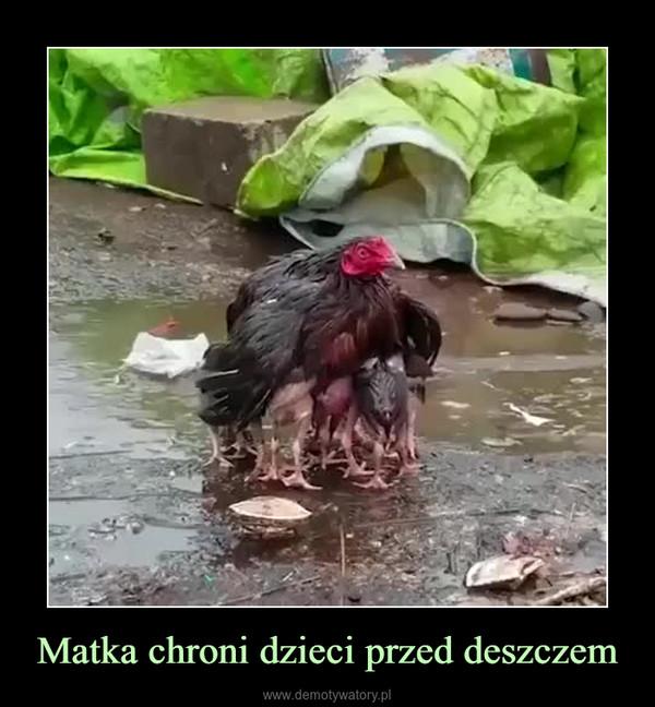 Matka chroni dzieci przed deszczem –