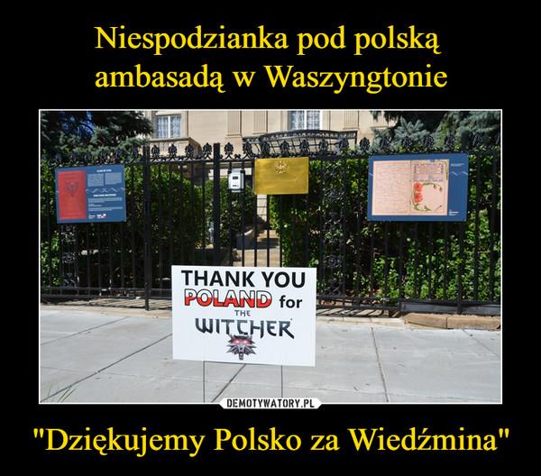 """""""Dziękujemy Polsko za Wiedźmina"""" –"""