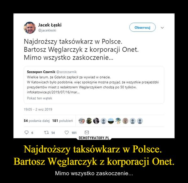 Najdroższy taksówkarz w Polsce. Bartosz Węglarczyk z korporacji Onet. – Mimo wszystko zaskoczenie...