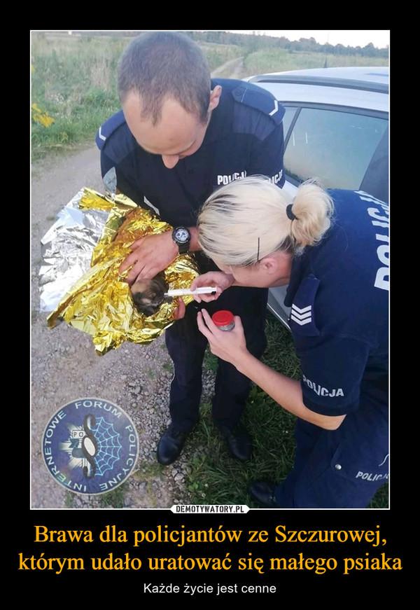 Brawa dla policjantów ze Szczurowej, którym udało uratować się małego psiaka – Każde życie jest cenne