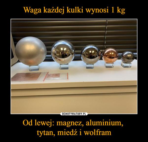 Od lewej: magnez, aluminium, tytan, miedź i wolfram –