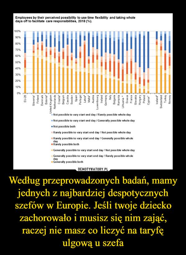Według przeprowadzonych badań, mamy jednych z najbardziej despotycznych szefów w Europie. Jeśli twoje dziecko zachorowało i musisz się nim zająć, raczej nie masz co liczyć na taryfę ulgową u szefa –