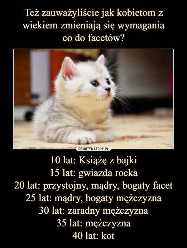 10 lat: Książę z bajki15 lat: gwiazda rocka20 lat: przystojny, mądry, bogaty facet25 lat: mądry, bogaty mężczyzna30 lat: zaradny mężczyzna35 lat: mężczyzna40 lat: kot –