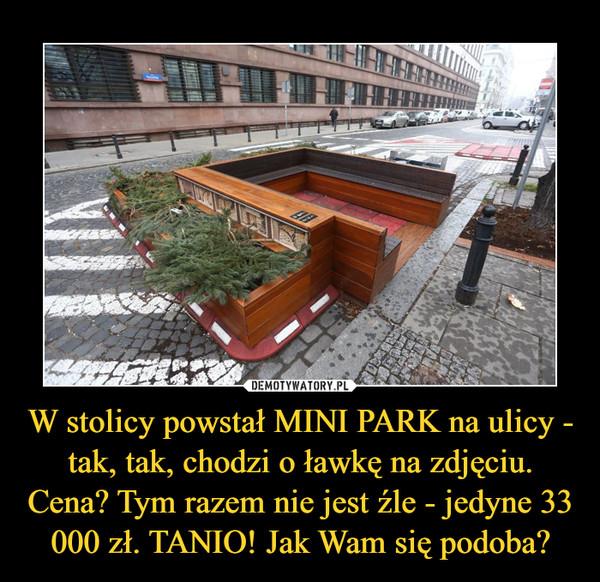 W stolicy powstał MINI PARK na ulicy - tak, tak, chodzi o ławkę na zdjęciu. Cena? Tym razem nie jest źle - jedyne 33 000 zł. TANIO! Jak Wam się podoba? –