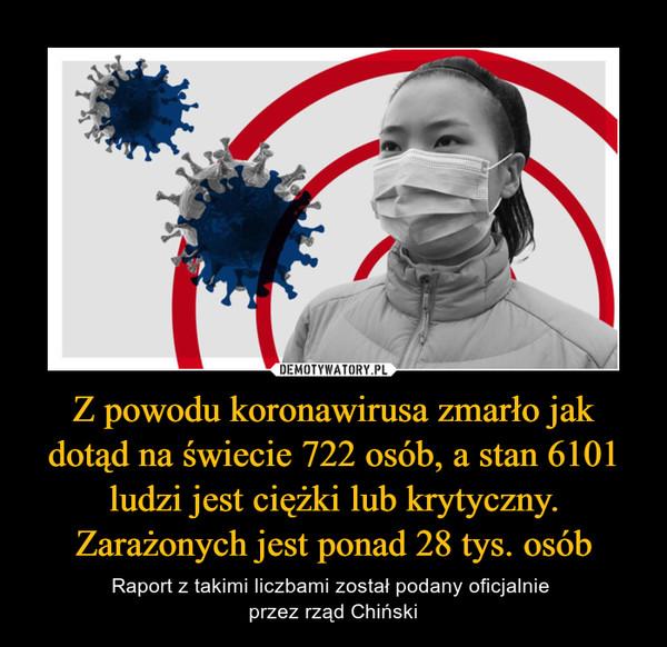 Z powodu koronawirusa zmarło jak dotąd na świecie 722 osób, a stan 6101 ludzi jest ciężki lub krytyczny. Zarażonych jest ponad 28 tys. osób – Raport z takimi liczbami został podany oficjalnie przez rząd Chiński