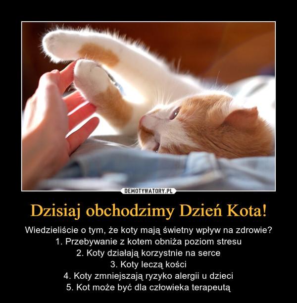 Dzisiaj obchodzimy Dzień Kota! – Wiedzieliście o tym, że koty mają świetny wpływ na zdrowie?1. Przebywanie z kotem obniża poziom stresu2. Koty działają korzystnie na serce3. Koty leczą kości4. Koty zmniejszają ryzyko alergii u dzieci5. Kot może być dla człowieka terapeutą