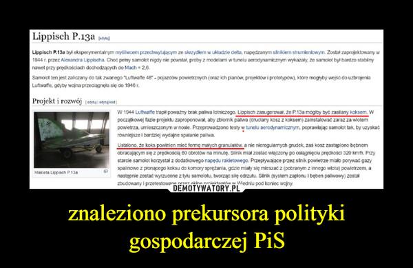 znaleziono prekursora polityki gospodarczej PiS –