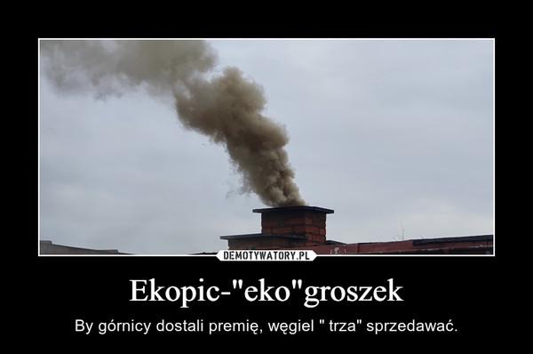 """Ekopic-""""eko""""groszek – By górnicy dostali premię, węgiel """" trza"""" sprzedawać."""
