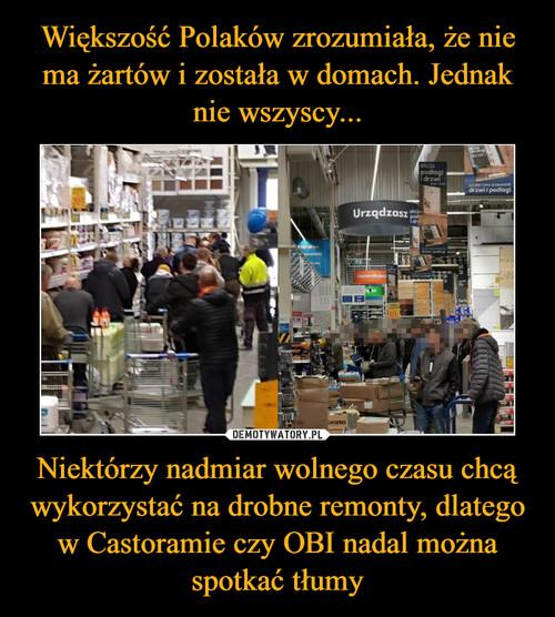 Większość Polaków zrozumiała, że nie ma żartów i została w domach. Jednak nie wszyscy... Niektórzy nadmiar wolnego czasu chcą wykorzystać na drobne remonty, dlatego w Castoramie czy OBI nadal można spotkać tłumy