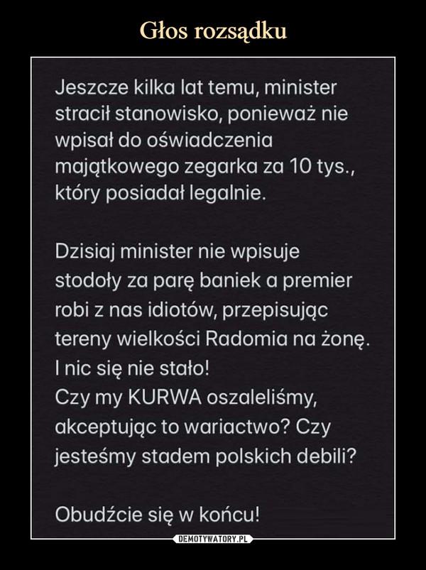 –  Jeszcze kilka lat temu, minister stracił stanowisko, ponieważ nie wpisał do oświadczenia majątkowego zegarka za 10 tys., który posiadał legalnie. Dzisiaj minister nie wpisuje stodoły za parę baniek a premier robi z nas idiotów, przepisując tereny wielkości Radomia na żonę. I nic się nie stało! Czy my KURWA oszaleliśmy, akceptując to wariactwo? Czy jesteśmy stadem polskich debili? Obudźcie się w końcu!