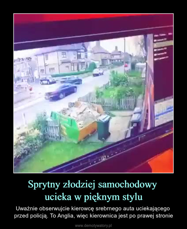 Sprytny złodziej samochodowy ucieka w pięknym stylu – Uważnie obserwujcie kierowcę srebrnego auta uciekającego przed policją. To Anglia, więc kierownica jest po prawej stronie