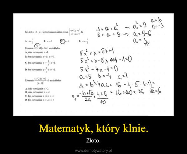 Matematyk, który klnie. – Złoto.