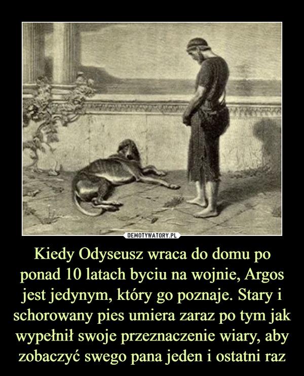 Kiedy Odyseusz wraca do domu po ponad 10 latach byciu na wojnie, Argos jest jedynym, który go poznaje. Stary i schorowany pies umiera zaraz po tym jak wypełnił swoje przeznaczenie wiary, aby zobaczyć swego pana jeden i ostatni raz –
