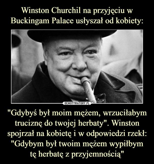 """""""Gdybyś był moim mężem, wrzuciłabym truciznę do twojej herbaty"""". Winston spojrzał na kobietę i w odpowiedzi rzekł: """"Gdybym był twoim mężem wypiłbym tę herbatę z przyjemnością"""" –"""