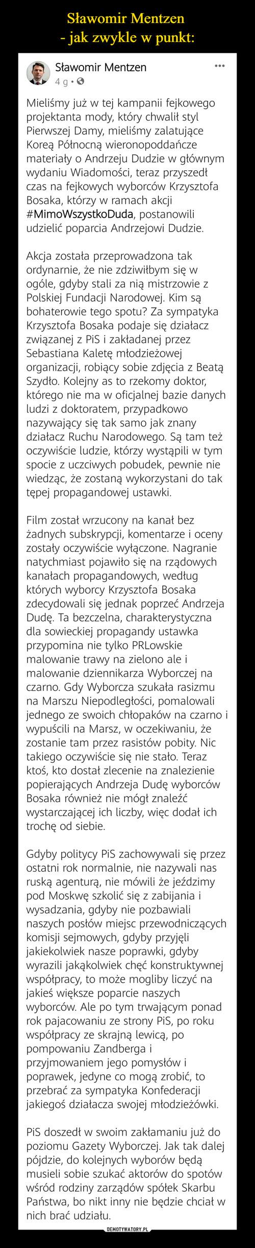 Sławomir Mentzen  - jak zwykle w punkt:
