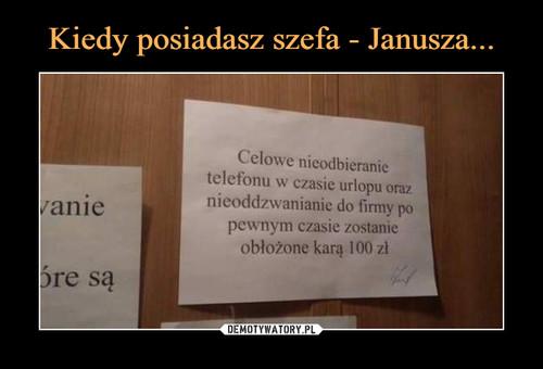 Kiedy posiadasz szefa - Janusza...