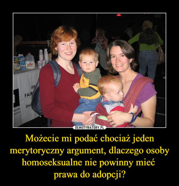 Możecie mi podać chociaż jeden merytoryczny argument, dlaczego osoby homoseksualne nie powinny mieć prawa do adopcji? –