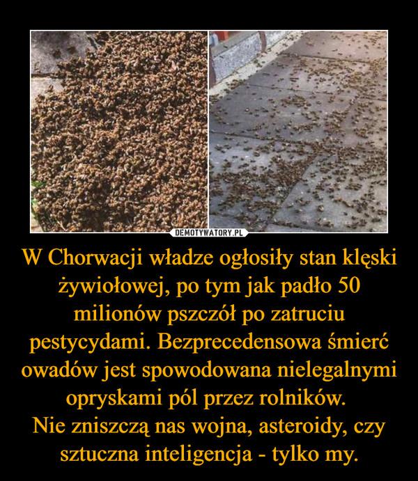 W Chorwacji władze ogłosiły stan klęski żywiołowej, po tym jak padło 50 milionów pszczół po zatruciu pestycydami. Bezprecedensowa śmierć owadów jest spowodowana nielegalnymi opryskami pól przez rolników. Nie zniszczą nas wojna, asteroidy, czy sztuczna inteligencja - tylko my. –