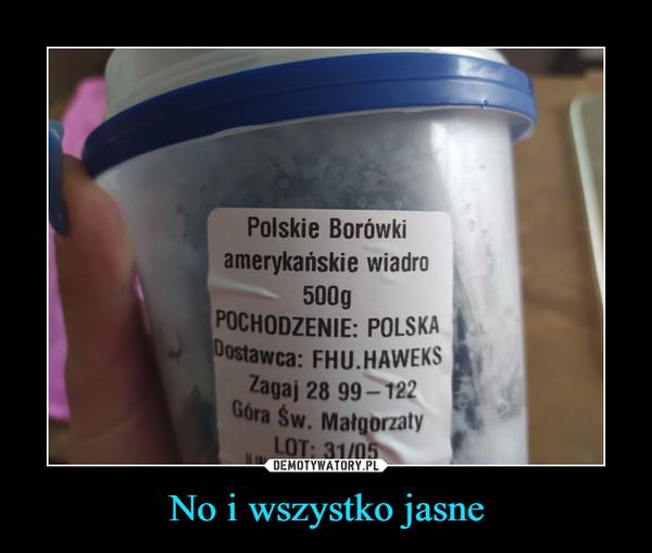 No i wszystko jasne –  Polskie Borówkiamerykańskie wiadro500gPOCHODZENIE: POLSKADostawca: FHU.HAWEKSZagaj 28 99– 122Góra Św. MałgorzatyLOT: 31/05DEMOTYWATORY.PLNo i wszystko jasne