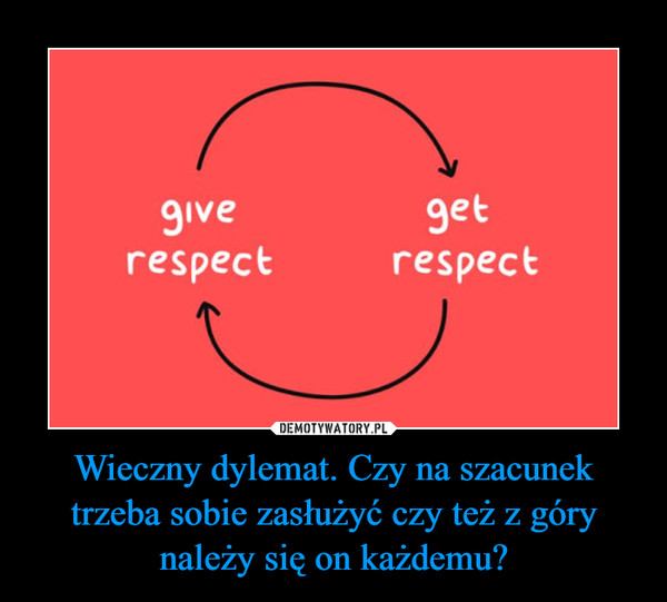 Wieczny dylemat. Czy na szacunek trzeba sobie zasłużyć czy też z góry należy się on każdemu? –