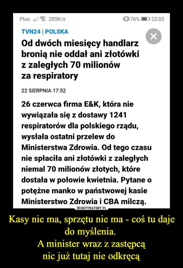 Kasy nie ma, sprzętu nie ma - coś tu daje do myślenia. A minister wraz z zastępcąnic już tutaj nie odkręcą –  Plus ull285K/s0176%| 22:03TVN24 | POLSKAOd dwóch miesięcy handlarzbronią nie oddał ani złotówkiz zaległych 70 milionówza respiratory22 SIERPNIA 17:52fREKLAMA26 czerwca firma E&K, która niewywiązała się z dostawy 1241respiratorów dla polskiego rządu,wysłała ostatni przelew doMinisterstwa Zdrowia. Od tego czasunie spłaciła ani złotówki z zaległychniemal 70 milionów złotych, któredostała w połowie kwietnia. Pytane opotężne manko w państwowej kasieMinisterstwo Zdrowia i CBA milczą.