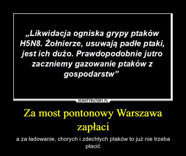 Za most pontonowy Warszawa zapłaci – a za ładowanie, chorych i zdechłych ptaków to już nie trzeba płacić