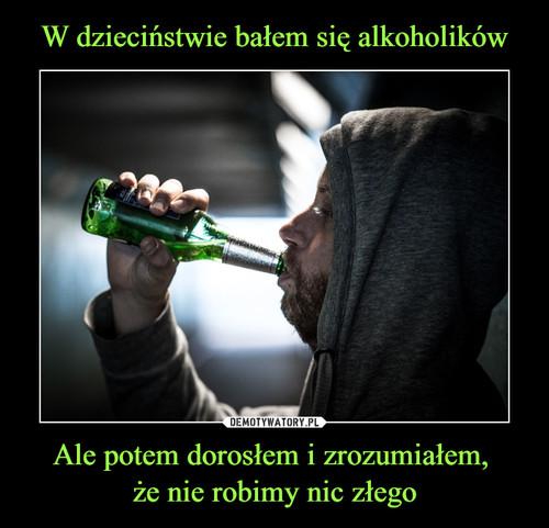W dzieciństwie bałem się alkoholików Ale potem dorosłem i zrozumiałem,  że nie robimy nic złego