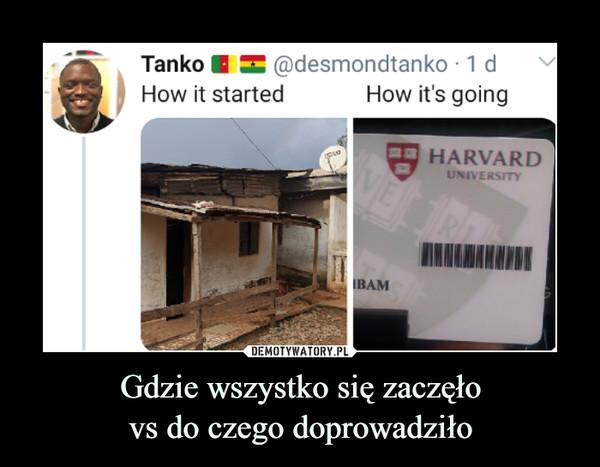Gdzie wszystko się zaczęłovs do czego doprowadziło –  Tanko ■ X @desmondtanko ■ 1 dHow it started How it's going