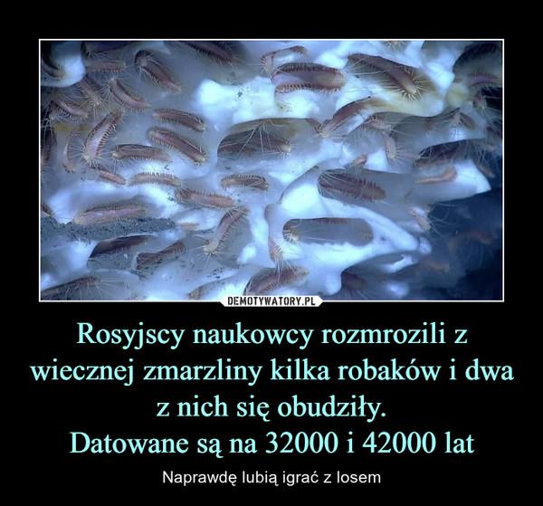 Rosyjscy naukowcy rozmrozili z wiecznej zmarzliny kilka robaków i dwa z nich się obudziły.Datowane są na 32000 i 42000 lat – Naprawdę lubią igrać z losem