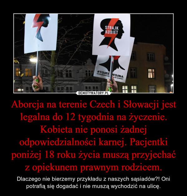 Aborcja na terenie Czech i Słowacji jest legalna do 12 tygodnia na życzenie. Kobieta nie ponosi żadnej odpowiedzialności karnej. Pacjentki poniżej 18 roku życia muszą przyjechać z opiekunem prawnym rodzicem. – Dlaczego nie bierzemy przykładu z naszych sąsiadów?! Oni potrafią się dogadać i nie muszą wychodzić na ulicę.