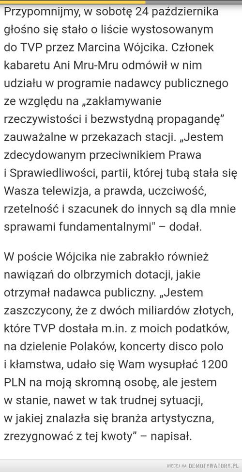 MARCIN WÓJCIK PISZE DO TVP