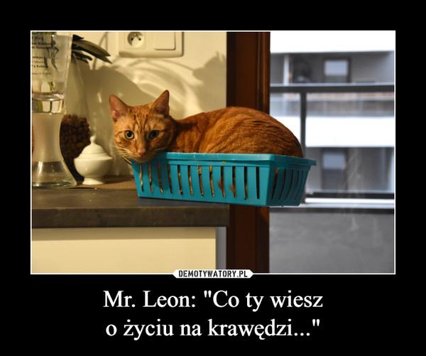 """Mr. Leon: """"Co ty wieszo życiu na krawędzi..."""" –"""