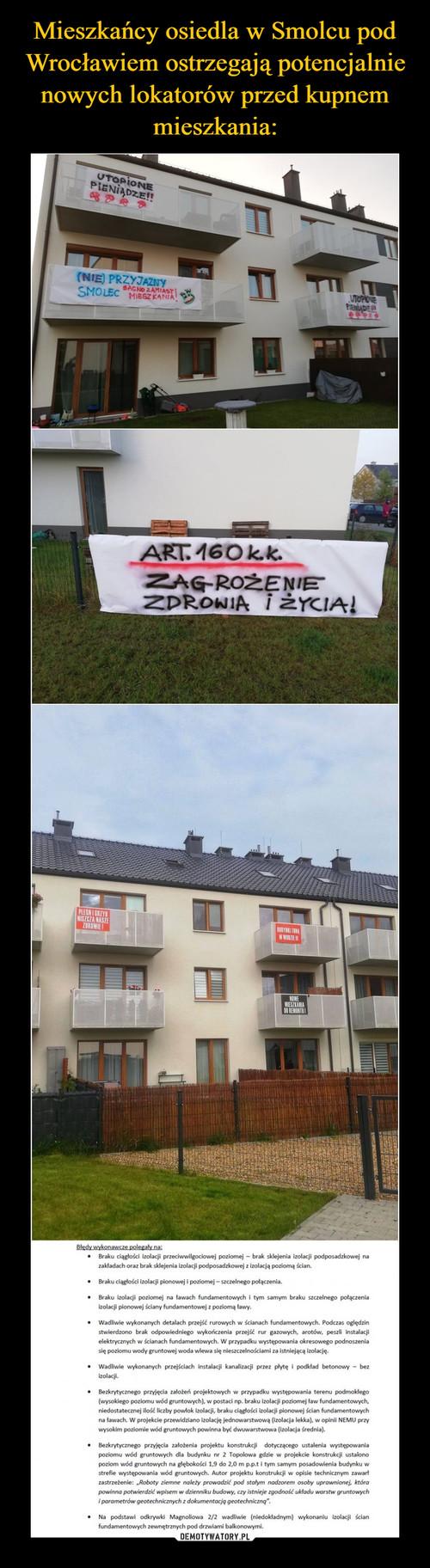 Mieszkańcy osiedla w Smolcu pod Wrocławiem ostrzegają potencjalnie nowych lokatorów przed kupnem mieszkania: