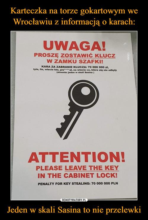 Karteczka na torze gokartowym we Wrocławiu z informacją o karach: Jeden w skali Sasina to nie przelewki