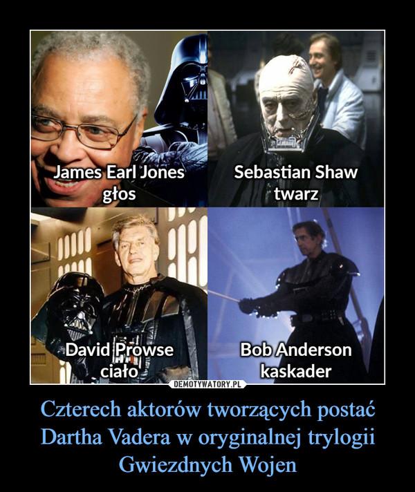 Czterech aktorów tworzących postać Dartha Vadera w oryginalnej trylogii Gwiezdnych Wojen –