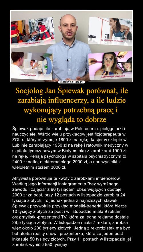 Socjolog Jan Śpiewak porównał, ile zarabiają influencerzy, a ile ludzie wykonujący potrzebną pracę i  nie wygląda to dobrze