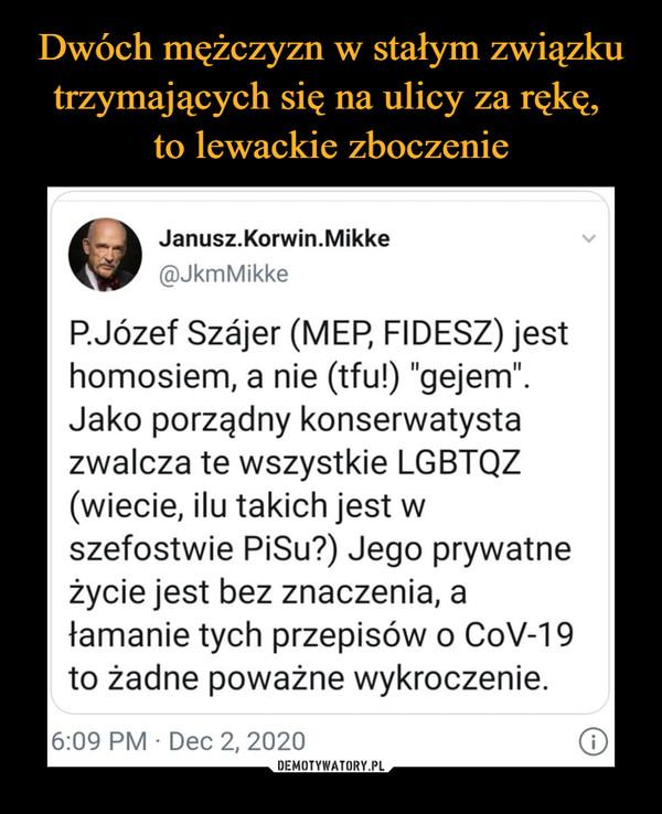 """–  P.Józef Szjer (MEP, FIDESZ) jest homosiem, a nie (tfu!) """"gejem"""". Jako porządny konserwatysta zwalcza te wszystkie LGBTQZ (wiecie, ilu takich jest w szefostwie PiSu?) Jego prywatne życie jest bez znaczenia, a łamanie tych przepisów o CoV-19 to żadne poważne wykroczenie."""