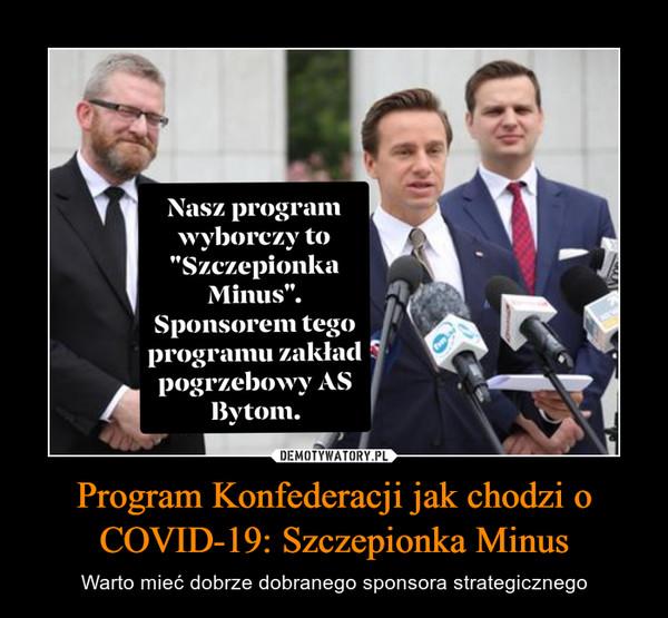 Program Konfederacji jak chodzi o COVID-19: Szczepionka Minus – Warto mieć dobrze dobranego sponsora strategicznego
