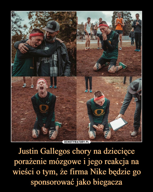 Justin Gallegos chory na dziecięce porażenie mózgowe i jego reakcja na wieści o tym, że firma Nike będzie go sponsorować jako biegacza
