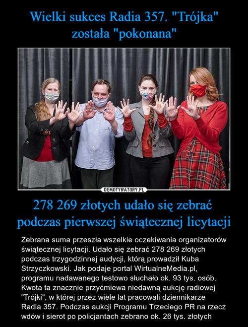 """Wielki sukces Radia 357. """"Trójka"""" została """"pokonana"""" 278 269 złotych udało się zebrać  podczas pierwszej świątecznej licytacji"""