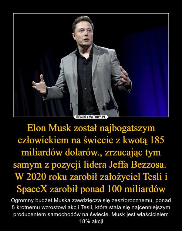 Elon Musk został najbogatszym człowiekiem na świecie z kwotą 185 miliardów dolarów., zrzucając tym samym z pozycji lidera Jeffa Bezzosa. W 2020 roku zarobił założyciel Tesli i SpaceX zarobił ponad 100 miliardów – Ogromny budżet Muska zawdzięcza się zeszłorocznemu, ponad 8-krotnemu wzrostowi akcji Tesli, która stała się najcenniejszym producentem samochodów na świecie. Musk jest właścicielem 18% akcji