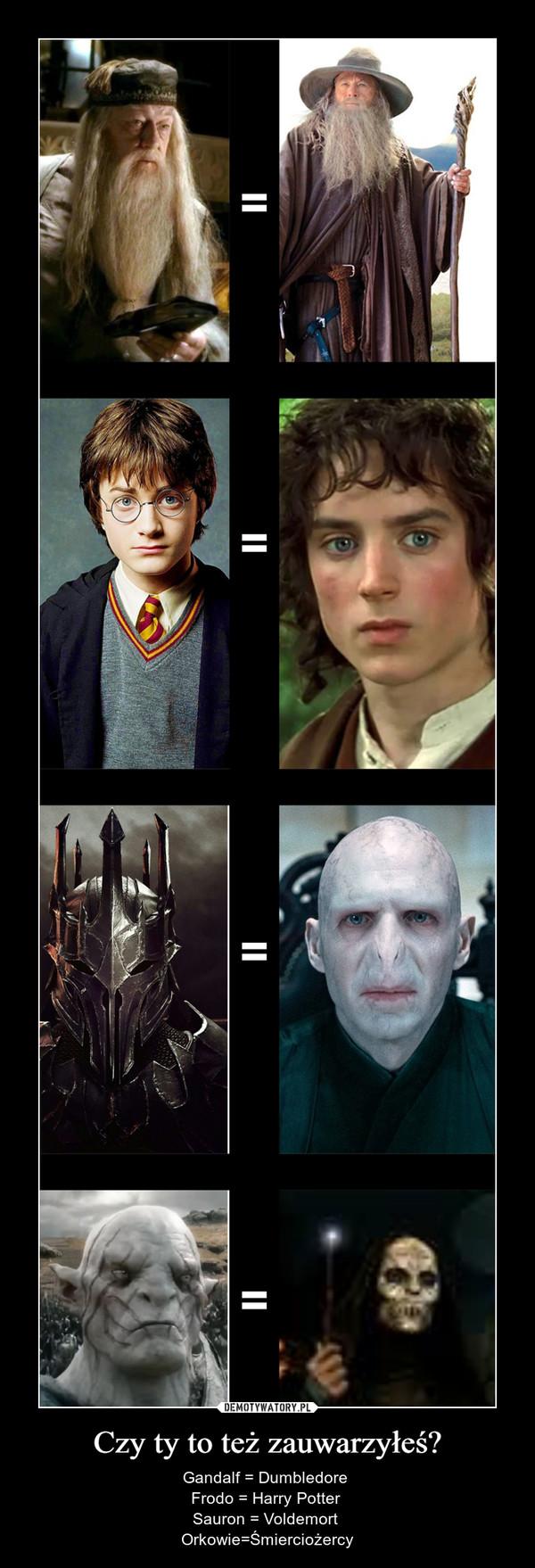 Czy ty to też zauwarzyłeś? – Gandalf = Dumbledore Frodo = Harry Potter Sauron = Voldemort Orkowie=Śmierciożercy