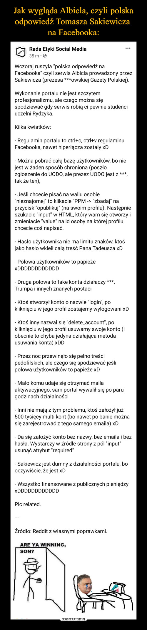 Jak wygląda Albicla, czyli polska odpowiedź Tomasza Sakiewicza  na Facebooka: